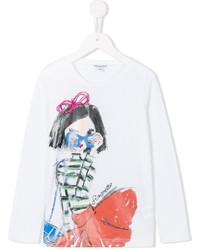 T-shirt a maniche lunghe stampata bianca di Simonetta