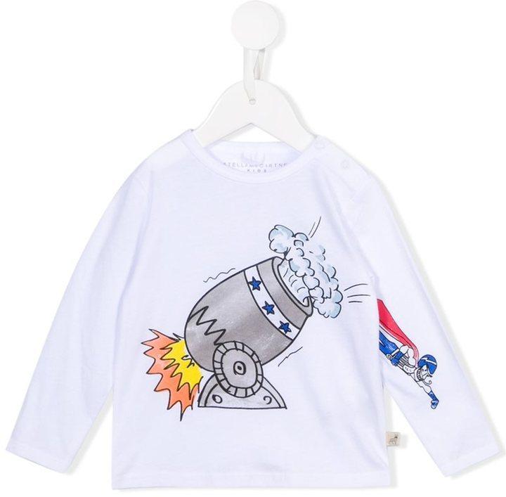 T-shirt manica lunga stampata bianca di Stella McCartney