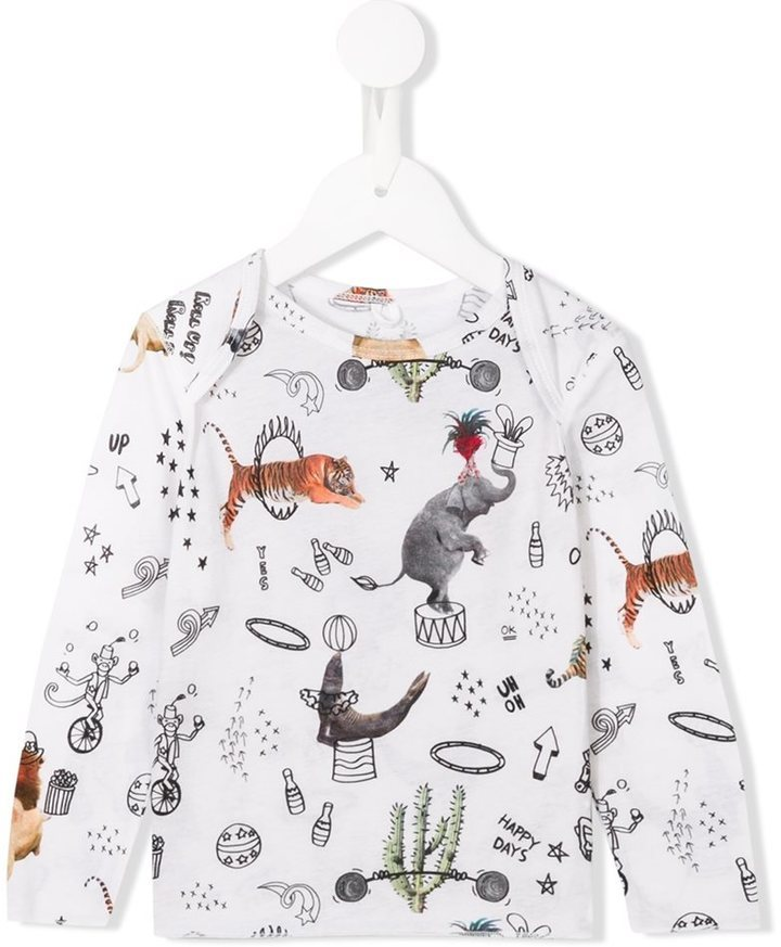 T-shirt a maniche lunghe stampata bianca di Stella McCartney