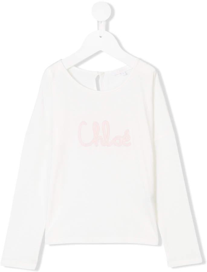 T-shirt manica lunga stampata bianca