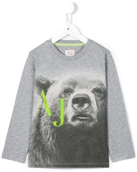 T-shirt manica lunga stampata grigia di Armani Junior
