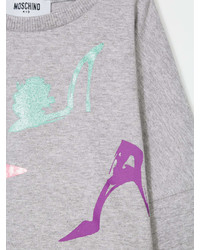 T-shirt manica lunga stampata grigia