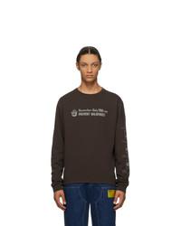 T-shirt manica lunga stampata marrone scuro
