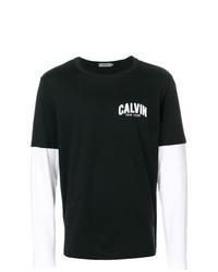 T-shirt manica lunga stampata nera e bianca