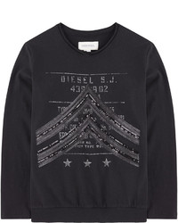 T-shirt manica lunga stampata nera