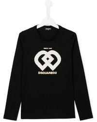 T-shirt manica lunga stampata nera di DSQUARED2