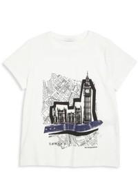 T-shirt stampata bianca e nera