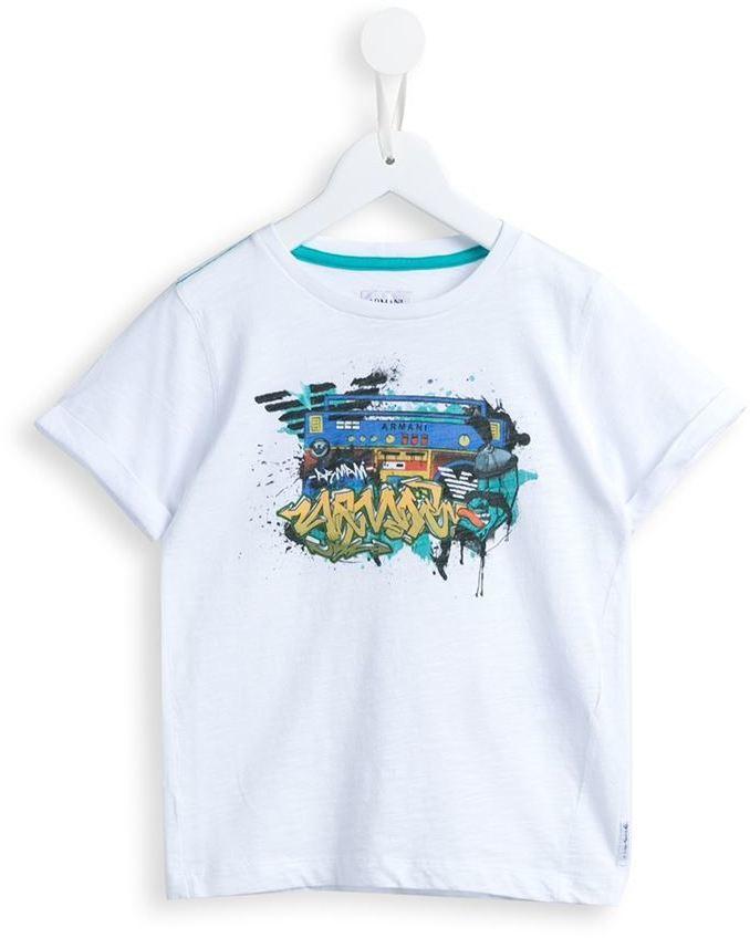 T-shirt stampata bianca di Armani Junior