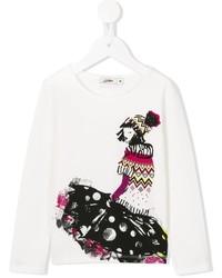 T-shirt stampata bianca di Junior Gaultier