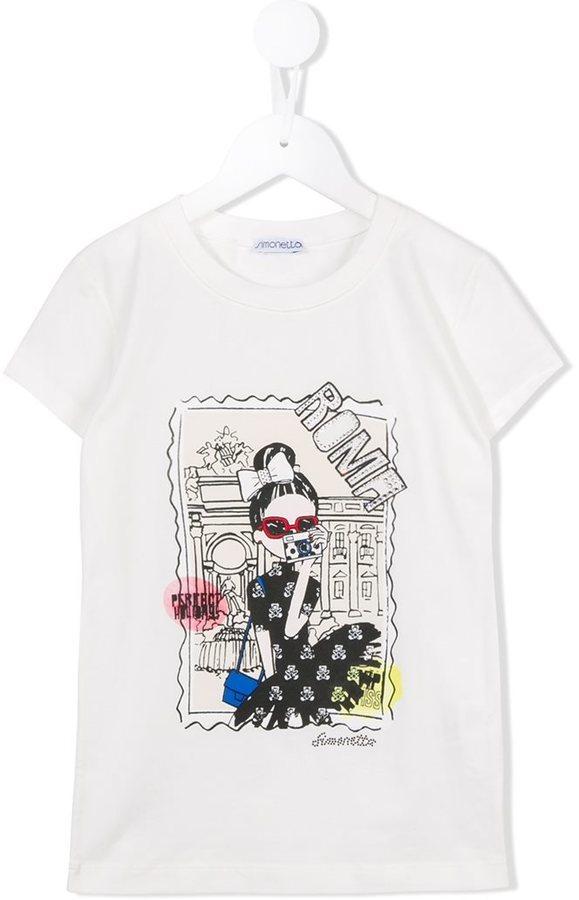 T-shirt stampata bianca di Simonetta