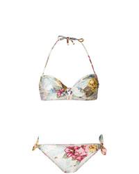 Top bikini a fiori beige di Zimmermann