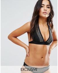 Top bikini con borchie nero di Wolf & Whistle