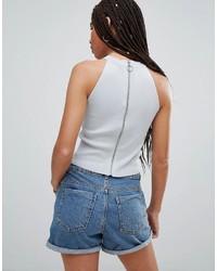 Top corto di jeans bianco di Noisy May