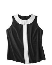 Top senza maniche a righe verticali nero e bianco