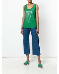 Top senza maniche con paillettes verde di P.A.R.O.S.H.