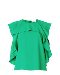 Top senza maniche con volant verde di RED Valentino