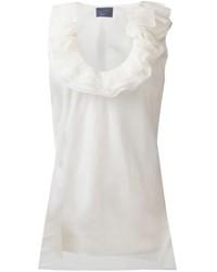 Top senza maniche di seta bianco di Lanvin
