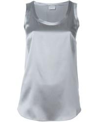 Top senza maniche di seta grigio di Brunello Cucinelli