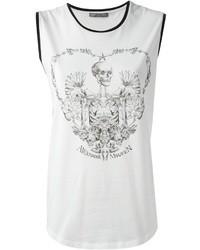 Top senza maniche stampato bianco e nero di Alexander McQueen