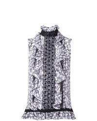 Top senza maniche stampato bianco e nero di Giambattista Valli
