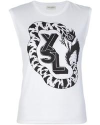 Top senza maniche stampato bianco e nero di Saint Laurent
