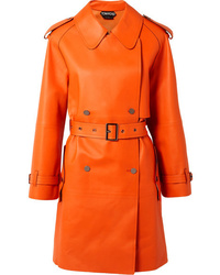 Trench in pelle arancione