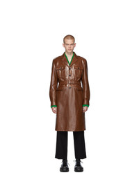 Trench in pelle marrone