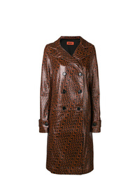 Trench in pelle marrone scuro