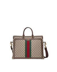 Ventiquattrore di tela marrone chiaro di Gucci