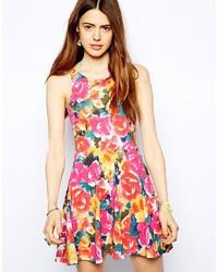 Vestito a pieghe a fiori multicolore
