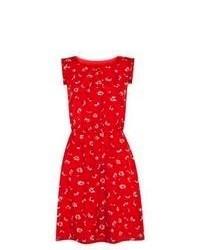 Vestito a pieghe a fiori rosso