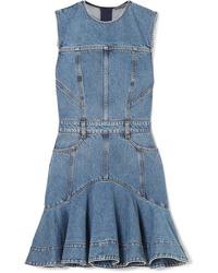 Vestito a pieghe di jeans blu di Alexander McQueen