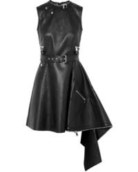 Vestito a pieghe in pelle nero di Alexander McQueen