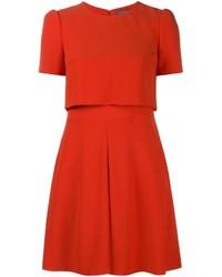 Vestito a pieghe rosso di Alexander McQueen