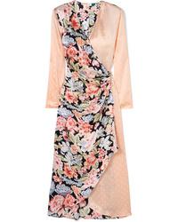 Vestito a portafoglio di raso a fiori rosa di RIXO