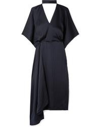 Vestito a portafoglio di seta blu scuro di Roland Mouret