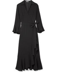 Vestito a portafoglio di seta con volant nero di Michael Kors Collection