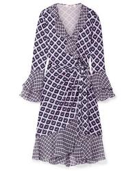 Vestito a portafoglio di seta geometrico viola chiaro di Diane von Furstenberg