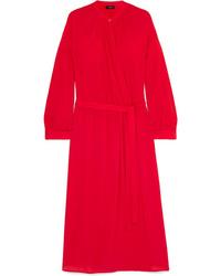 Vestito a portafoglio di seta rosso di Joseph