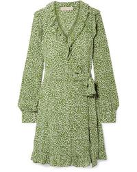 Vestito a portafoglio di seta stampato verde oliva di MICHAEL Michael Kors