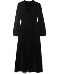 Vestito a portafoglio di velluto nero di Les Rêveries