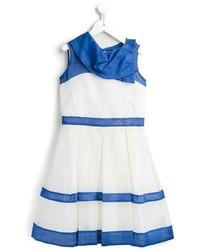 Vestito a righe orizzontali bianco e blu