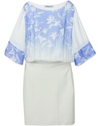Vestito a trapezio a fiori bianco e blu di Blumarine