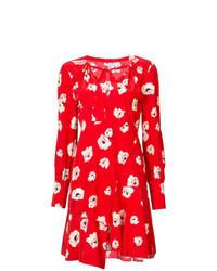 Vestito a trapezio a fiori rosso di Derek Lam 10 Crosby