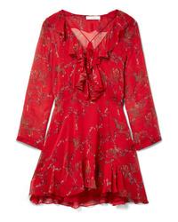 Vestito a trapezio a fiori rosso di IRO