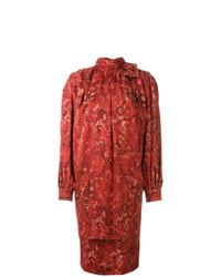 Vestito a trapezio a fiori rosso di Nina Ricci Vintage