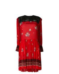 Vestito a trapezio a fiori rosso di Philosophy di Lorenzo Serafini