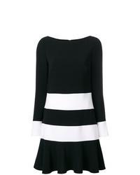 Vestito a trapezio a righe orizzontali nero e bianco