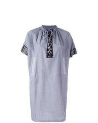 Vestito a trapezio a righe verticali azzurro di JW Anderson