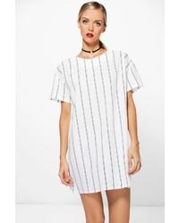 Vestito a trapezio a righe verticali bianco